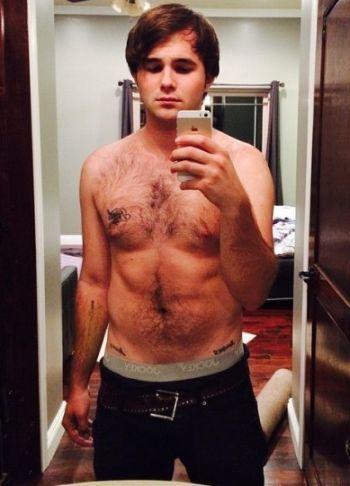 hutch dano shirtless chest hair selfie