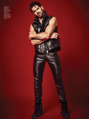 male celebrity leather pants - dsquared - nyde dimarco
