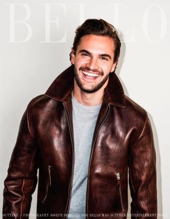 celebrity leather jacket - tom bateman for bello mag