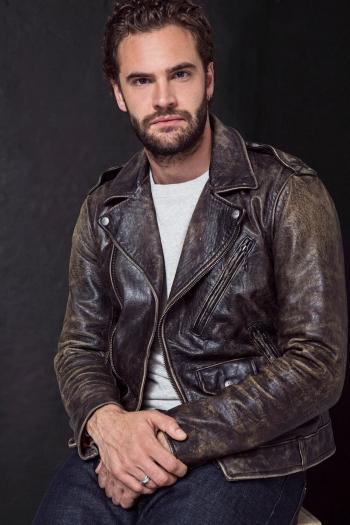 celebrity leather jacket - tom bateman in polo ralph lauren grain cow leather