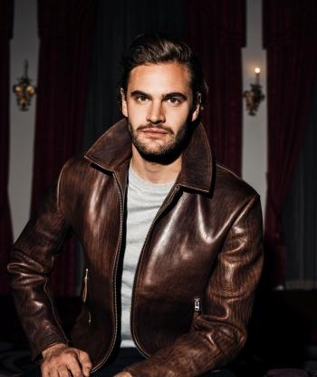 celebrity leather jacket - tom bateman - our legacy brand2