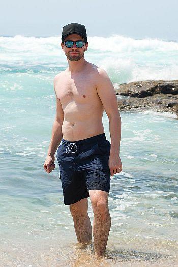 Torrance Coombs shirtless beach