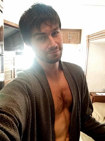 Torrance Coombs shirtless chest hair