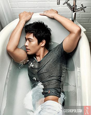 hot wet men in clothes - hyun bin - south korean actor