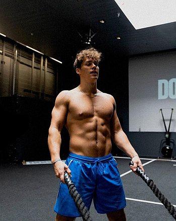noah beck shirtless workout in shorts