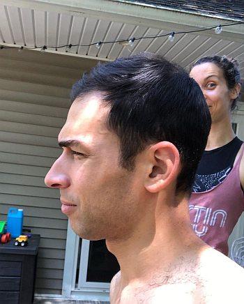 stefan holt shirtless - quarantine haircut