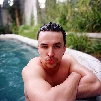 andrew horton shirtless swimming pool