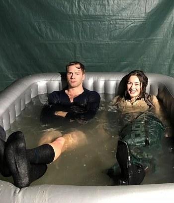 calahan skogman hot and wet shirt with Danielle Galligan