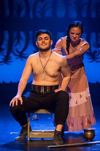 joseph spanti shirtless in aida as capt radames with sarah calsina as aida