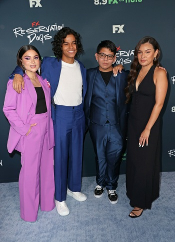 D'Pharaoh Woon-A-Tai reservation dogs with paulina alexis, lane factor, and devery jacobs red carpet