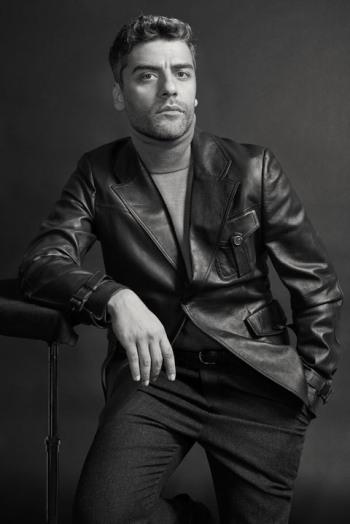 oscar isaac leather jacket by prada