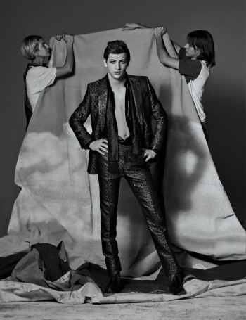 tye sheridan body - glam rock Givenchy blazer, pants, shirt, scarf, and boots