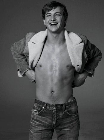 tye sheridan shirtless plus Saint Laurent by Anthony Vaccarello jacket and jeans